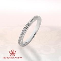 【BROOCH(ブローチ)】【杢目金屋】プラチナに小粒のダイヤモンドが輝くハーフエタニティリング