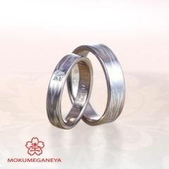 【一真堂】【杢目金屋】白色の<木目金>が上品な表情を生む結婚指輪
