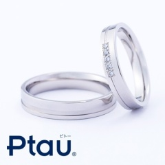【HARADA BRIDAL(ハラダブライダル)】同デザインのペアでダイヤの位置を変化させて結婚指輪に!/Ptau フラット