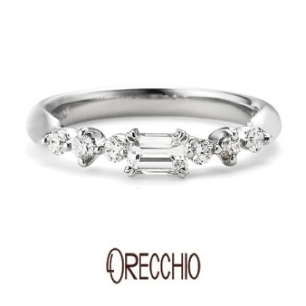 【VANillA(ヴァニラ)】<pipi>婚約指輪 四角ダイアと丸いダイアのミックスが女性らしいキュートな指輪