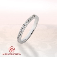 【VANillA(ヴァニラ)】【杢目金屋】プラチナに小粒のダイヤモンドが輝くハーフエタニティリング