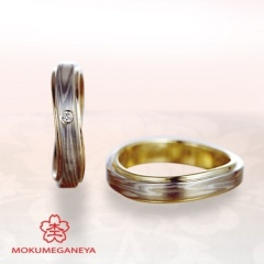 【VANillA(ヴァニラ)】【杢目金屋】指を美しくみせるモダンなフォルムの「木目金」結婚指輪
