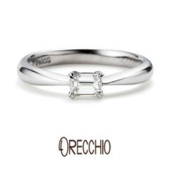 【VANillA(ヴァニラ)】<pipi>婚約指輪 エメラルドカットダイヤの輝きが際立つシンプルなデザイン