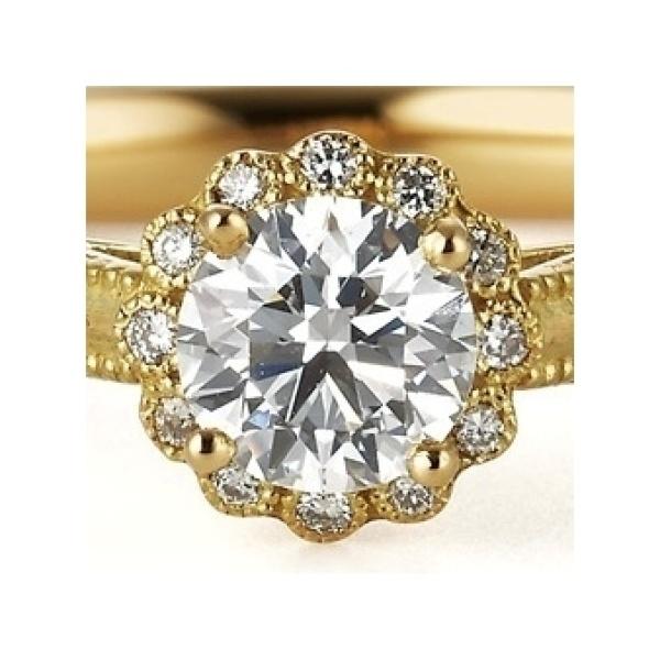 【VANillA(ヴァニラ)】ドルチェ ~センターダイヤのお花のような華やかさとアンティークな仕上げの婚約指輪