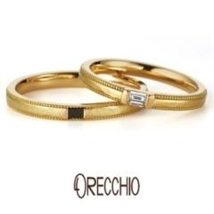 【VANillA(ヴァニラ)】ドルチェ ~エメラルドカットダイヤを使用したアンティーク風デザインの結婚指輪