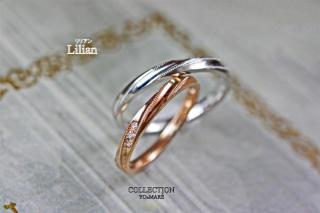 【YO&MARE(ヨーアンドマーレ)】Lilian~ ピンクゴールド&ホワイトゴールドの細い糸(リリアン)のペアマリッジ~