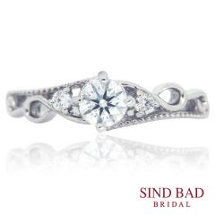 【SIND BAD(シンドバット)】婚約指輪 繊細なミルうち ヨーロッパのお城のようなクラシカルな雰囲気 の婚約指輪
