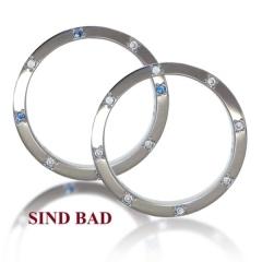 【SIND BAD(シンドバット)】【マリッジリング】サイドにダイヤ・サファイア!メッセージの刻印も!丈夫な鍛造
