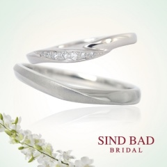 【SIND BAD(シンドバット)】ダイヤ・マット加工 緩やかなVラインマリッジリング【2本¥125,280~】