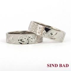【SIND BAD(シンドバット)】和彫りの結婚指輪【バラ】 ふたりの想いや願いを彫り模様にこめて