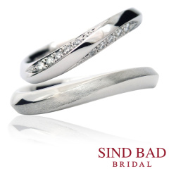 【SIND BAD(シンドバット)】結婚指輪 ウェーブタイプ どの角度から見ても表情を楽しめる結婚指輪