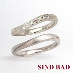 【SIND BAD(シンドバット)】【ピンクダイヤの結婚指輪】セットの位置や濃さも選べてアレンジ自由♪
