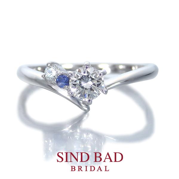 【SIND BAD(シンドバット)】婚約指輪【夏銀河(なつぎんが)】寄り添う織姫と彦星 【二人の誕生石をセット】【3月誕生石サンタマリアアクアマリン・9月誕生石サファイア】