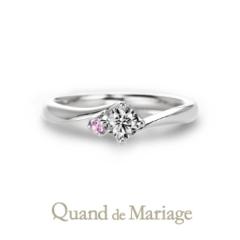 【Quand de Mariage(クワンドゥマリアージュ)】ドゥ ブリーズ【Doux brise:暖かい風】0.2ct ピンクサファイア