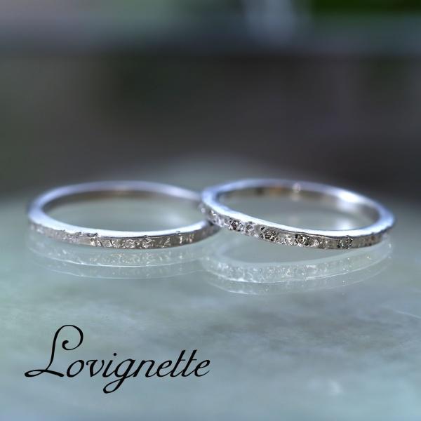 【Lovignette(ラヴィネット)】【ハンドメイド】ルナーフェイズダイヤモンドリング(narrow)