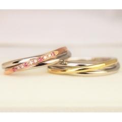 【パルテ熊本】○*。セミオーダーで私達だけの指輪☆素材や石の色などアレンジ可能な3連リング○*
