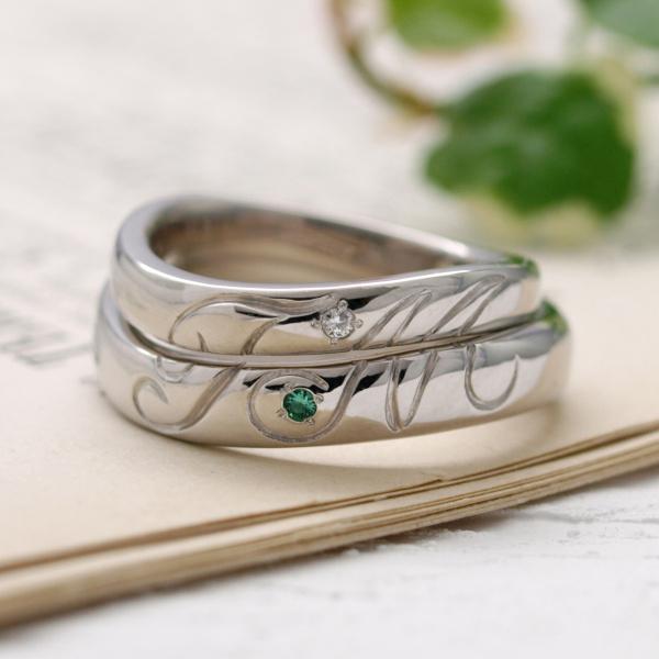 【サロン・ド・ルシェル】【オーダー】重ねてつながるイニシャルデザインの結婚指輪