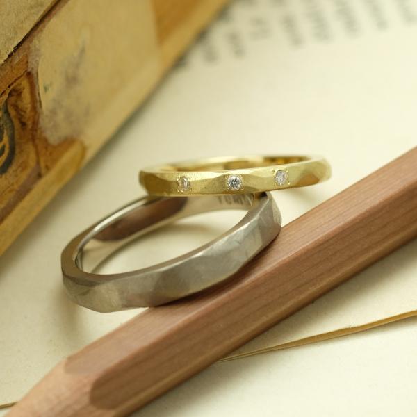 【サロン・ド・ルシェル】【手作り】手作り感を残した凹凸の結婚指輪