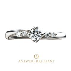 """【ANTWERP BRILLIANT(アントワープブリリアント)】""""Spica"""" 4 side melee Diamond Line Ring """"スピカ"""" 4 サイド メレー ダイヤモンド ライン リング"""