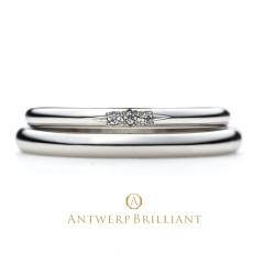 "【ANTWERP BRILLIANT(アントワープブリリアント)】""Asterism"" Three Stone Wedding Band Ring ""アステリズム"" ウエディングバンドリング"