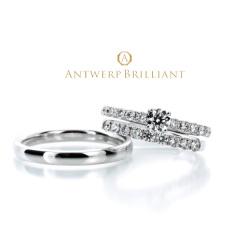 "【ANTWERP BRILLIANT(アントワープブリリアント)】""D Line Star"" Diamond Harf Eternity Wedding Band Ring ""ディーライン スター"" ウエディングバンド"