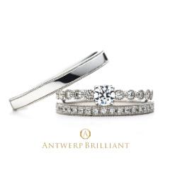 """【ANTWERP BRILLIANT(アントワープブリリアント)】""""D-Line Star Classic"""" Millgrain Diamond Line Wedding Band Ring """"ディー ライン クラシック""""ウエディングバンド"""
