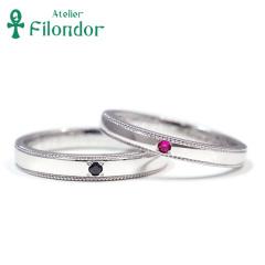 【アトリエフィロンドール】【アトリエ・フィロンドール】ミャンマールビー&ブラックダイヤとミル打ちが輝く鍛造結婚指輪