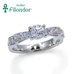 【アトリエフィロンドール】【アトリエ・フィロンドール】リフォーム婚約指輪 ダイヤがぎっしり輝くリボンモチーフの婚約指輪