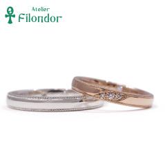 【アトリエフィロンドール】【アトリエ・フィロンドール】鍛造&手彫りミル打ちのダイアモンド結婚指輪