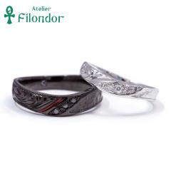 【アトリエ・フィロンドール】フルオーダー 手彫り・和紙テクスチャー・漆・ブラックの艶めく結婚指輪