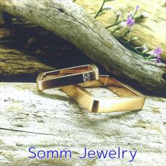 【SommJewelry(ソムジュエリー)】スクエアストレートダイヤモンドリング(男性用ダイヤなし)