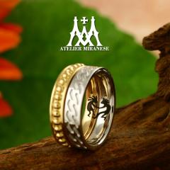 【アトリエミラネーゼ】ミル玉と縄目模様&ココペリの内彫りのフルオーダーマリッジリング