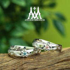【アトリエミラネーゼ】カラーダイヤと桜のフルオーダーマリッジリング