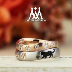 【アトリエミラネーゼ】白猫と黒猫のフルオーダーマリッジリング