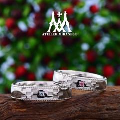 【アトリエミラネーゼ】ミンサー織り模様のフルオーダーマリッジリング