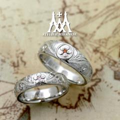 【アトリエミラネーゼ】梅の家紋とハワイアン模様のフルオーダーマリッジリング
