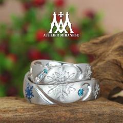 【アトリエミラネーゼ】雪の結晶のフルオーダーマリッジリング