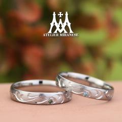 【アトリエミラネーゼ】タガネ彫りとカラーダイヤのフルオーダーマリッジリング