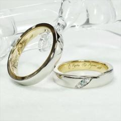 【ATELIER Hu・lala(アトリエ・ウララ)】【二人で手作り結婚指輪】イルカとペンギンが刻印されたコンビネーションリング