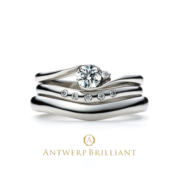 "【BRIDGE ANTWERP BRILLIANT GALLERY(ブリッジ・アントワープ・ブリリアント・ギャラリー)】""Full Moon"" Diamond Rim Setting Ring Set ""フルムーン"" ダイヤモンド リム セッティング リング セット"