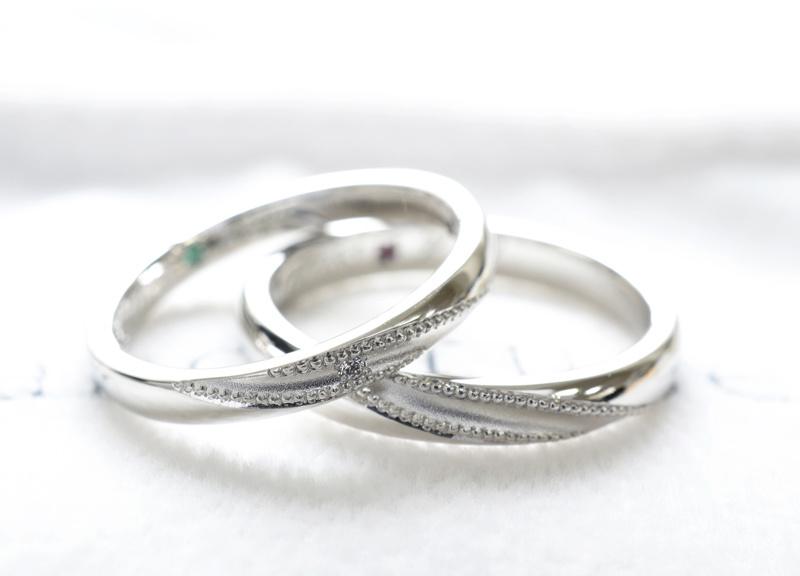 【湘南彫金工房 andfuse】【手作り結婚指輪デザインワックスコース】斜めにミルグレインを施したとってもお洒落な手作り結婚指輪
