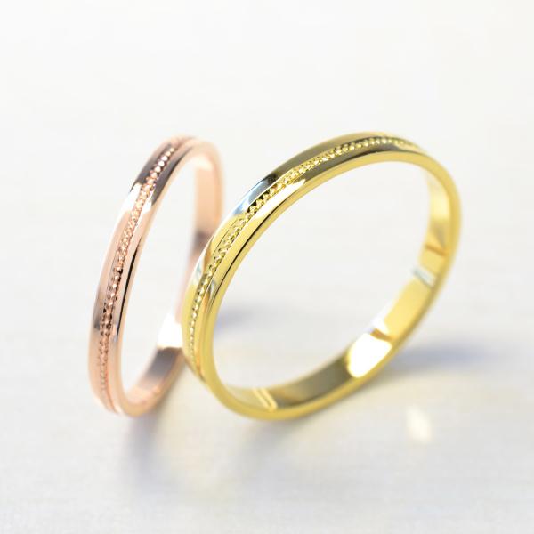 【湘南彫金工房 andfuse】【手作り結婚指輪】ひら打ちミルグレイン1列(プラチナ、ゴールド)