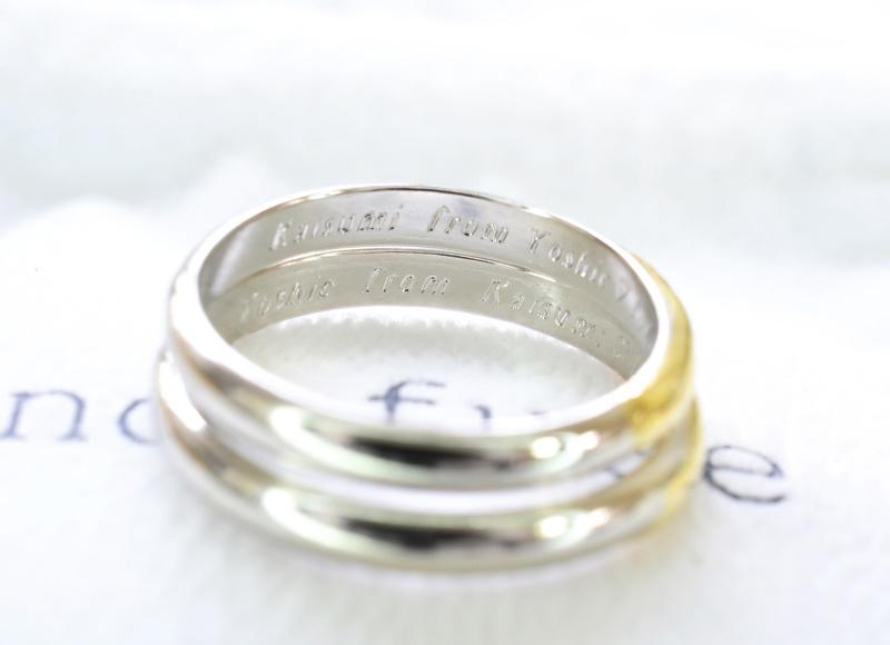 【湘南彫金工房 andfuse】【手作り結婚指輪当日コース】イエローゴールドとプラチナのコンビデザイン