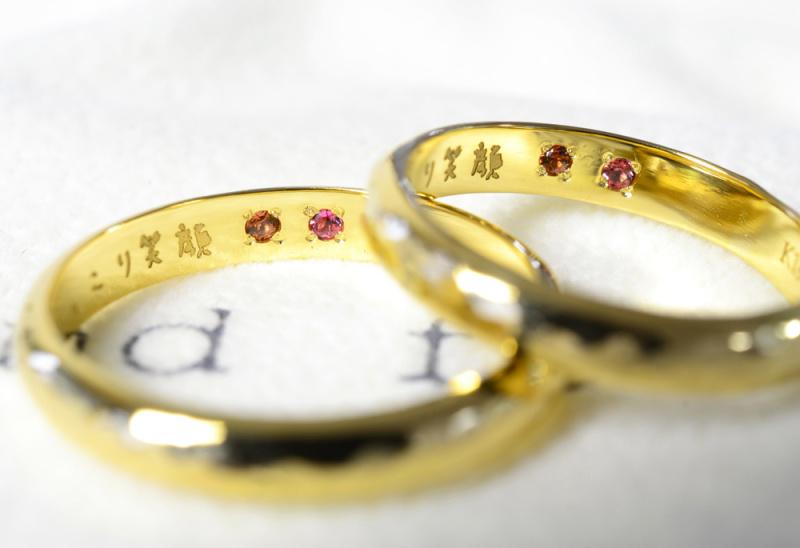 【湘南彫金工房 andfuse】【手作り結婚指輪当日コース】手描き文字レーザー彫刻を施した手作り結婚指輪