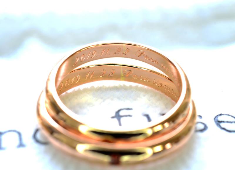【湘南彫金工房 andfuse】【手作り結婚指輪当日コース】誕生石をセットした甲丸鏡面仕上げ