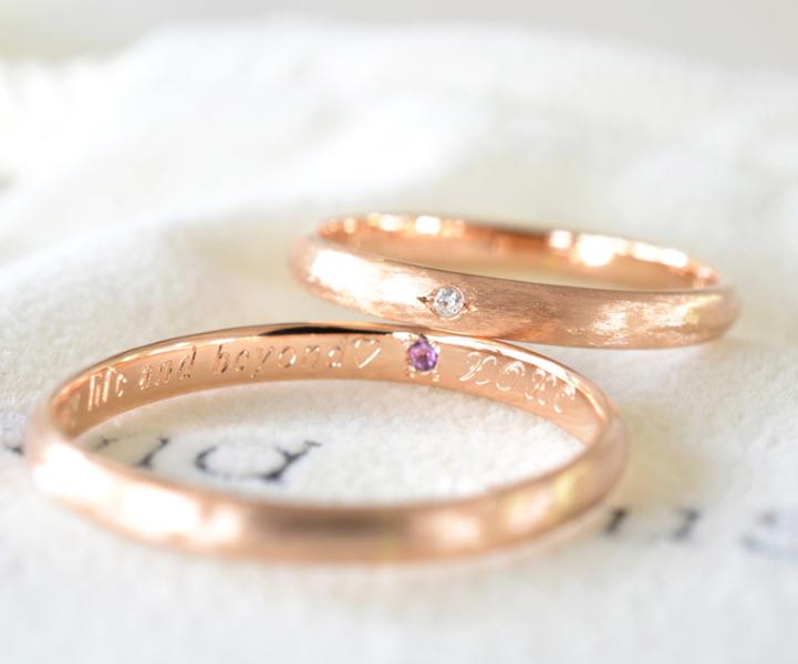 【湘南彫金工房 andfuse】【手作り結婚指輪当日コース】誕生石をセットした甲丸ヘアライン仕上げ