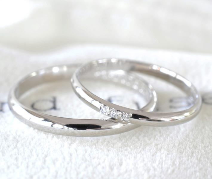 【湘南彫金工房 andfuse】【手作り結婚指輪当日コース】ダイアモンドを3石セットしたこう丸鏡面仕上げ(プラチナ、ゴールド)