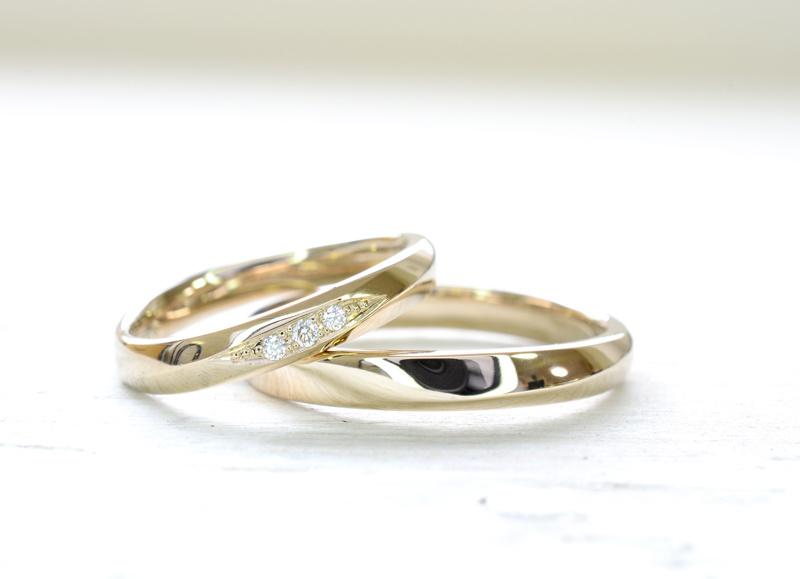 【湘南彫金工房 andfuse】手作り結婚指輪デザインワックスコース】cho-wa二人の調和を表現したデザインにダイアをセッティングした18金シャンパンゴールドの手作り結婚指輪
