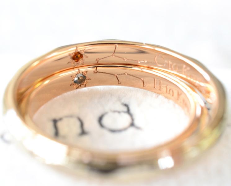 【湘南彫金工房 andfuse】【手作り結婚指輪デザインワックスコース】お互いの星座を彫刻したお洒落な手作り結婚指輪