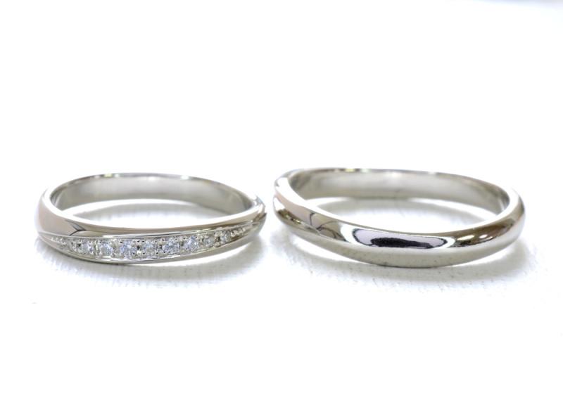 【湘南彫金工房 andfuse】【手作り結婚指輪デザインワックスコース】ダイアモンドを8石セットしたキラキラな手作り結婚指輪
